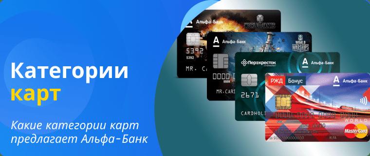 Категории кредитных карт Альфа Банка